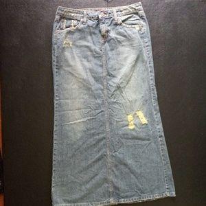 Hint Jeans Denim Distressed Long Skirt Size 7